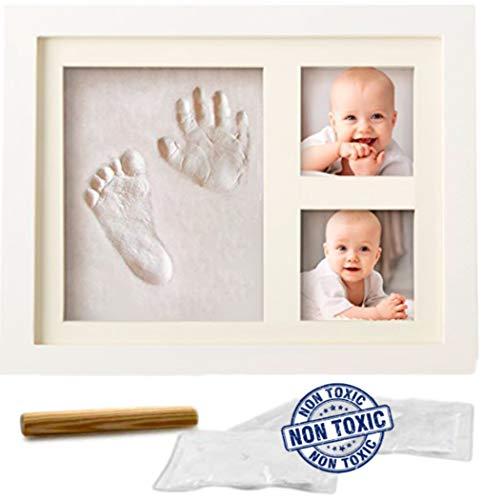 Kit memoria impronte mani piedi in cornice legno per neonati, bambini - speciale regalo per festeggiare la nascita o per battesimo, da tavolo o applicabile a parete