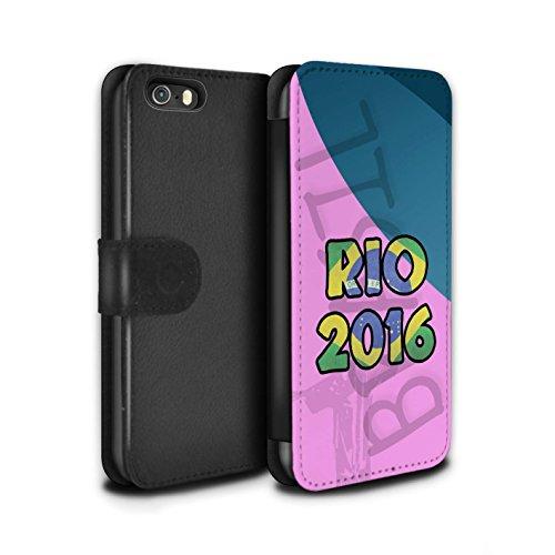 Stuff4 Coque/Etui/Housse Cuir PU Case/Cover pour Apple iPhone SE / Rose Design / Brésil Amour Rio 2016 Collection Rose
