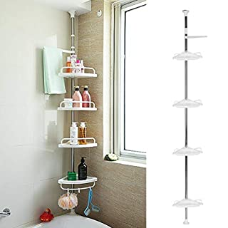 Homgrace Duschregal Badezimmer Eckregal Teleskop Dusche Regal Edelstahl Ecke Regal mit 4 Ablagen und Handtuchhalter, Höhenverstellbar von 100-320 cm, Weiß