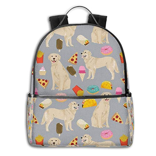 Golden Retrievers Stoff Hunde und Junk Foods Design Multifunktionale College Bag Studenten Casual Daypack Reise Rucksack Schule Laptop Bookbag -