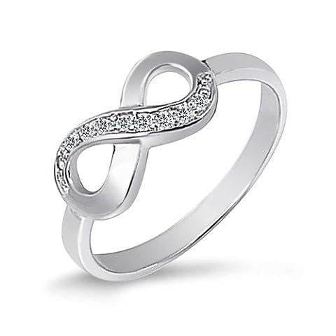 Bling Jewelry la moitié Ouvrir zircone cubique Bague Argent 925 promesse infini