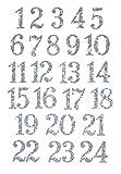 marinamalina adventskalender Zahlen adventskalender bügelbild Adventszahlen zum Aufbügeln Aufkleber Hotfix Bügelbild Textilaufkleber Glitterfolie Glitzerfolie bunt 24 Stück