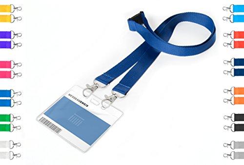 Karteo® Porta badge Porta cartellino involucro protettivo in polivinile a7 (105 x 74mm) orizzontalmente + 20mm Cordoncino Lanyard blu marino con doppio moschettone e chiusura di sicurezza all'altezza del collo