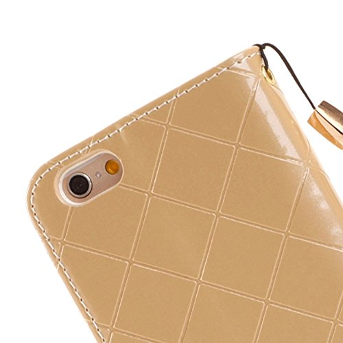 Phone case & Hülle Für iPhone 6 Plus / 6S Plus, Wallet Style Diamond verkrustete Ledertasche mit Lanyard & Card Slots & Geld Tasche ( Color : White ) Gold