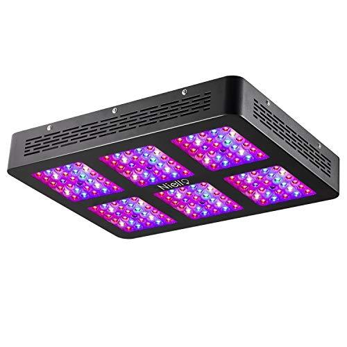 Niello Lente Óptica Dual Serie 900W. Luces LED para el crecimiento de las plantas. Espectro completo para plantas de interior para conseguir crecimiento y floración (dos interruptores,12-bandas)