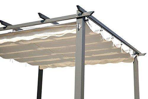 OUTFLEXX Pergola aus Grauem Aluminium, cremeweiß, 300 x 300 x 20 cm - 3