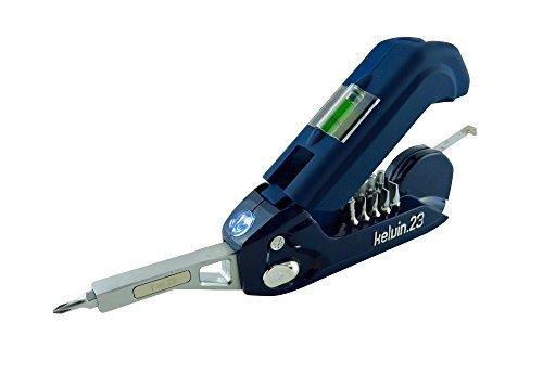 Outil multifonction Kelvin - 23 outils intégrés : 16 embouts de tournevis, mètre ruban, niveau et marteau - Bleu marine