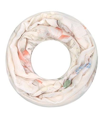 Majea super weicher Damen Loop Schal viele Farben Muster Schlauchschal Halstuch in aktuellen Trendfarben (creme 26) (Damen Halstuch)