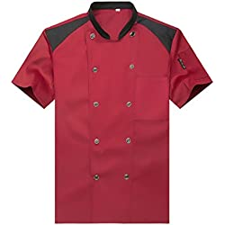 WAIWAIZUI Camisa de Cocinero Cocina Uniforme Manga Corta Rojo