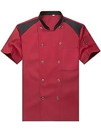 WAIWAIZUI Camisa de Cocinero Cocina Uniforme Manga Corta