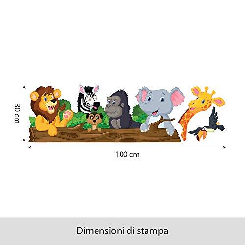 comprare on line wall art - Adesivo da muro per bambini con motivo con animali chiacchieroni, Multicolore, 100x 30 cm, R00145 prezzo