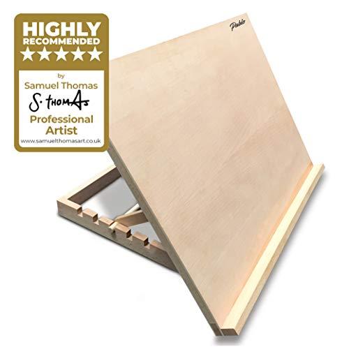 Atril/mesa/caballete para escritorio de madera ajustable tamaño A3 para trabajos de arte y artesanía de PABLO, A3