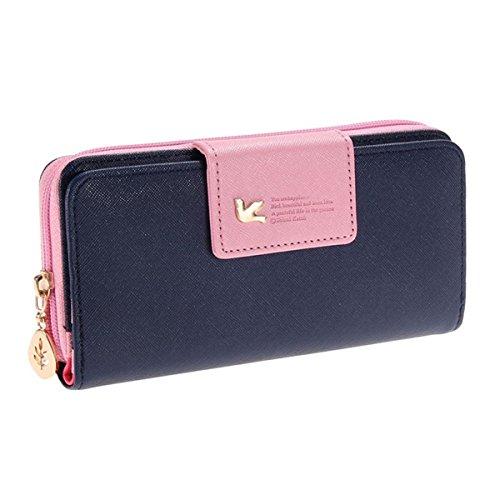 Ein Damen Multi-Position Zwei Fold lang Reißverschluss Portemonnaie lang Reißverschluss Geldbörse Handtasche Handtasche, dunkelblau (Blau) - QB005 (Fold Geldbörse)