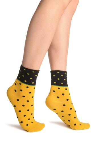Small Polka Dot On Yellow With Black Top Ankle High Socks - Gelb Socken Einheitsgroesse (37-42) -