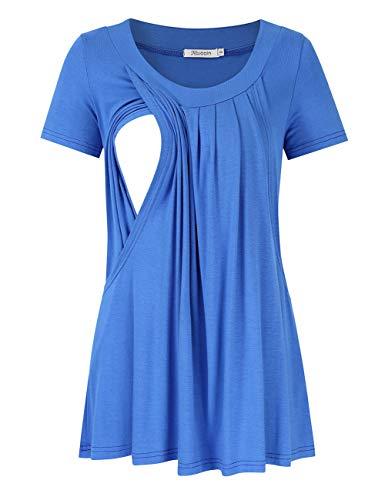 KOJOOIN Damen Stillshirt Umstandsshirt Umstandsmode Umstandstop Mama Schwangerschaft Kleidung Lagendesign Wickeln-Schicht
