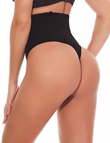 NINGMI Damen Mieder String Tanga Mittlere Taille Miederslip Figurformend Miederhose Shapewear Taillenmieder Body Shaper - 2