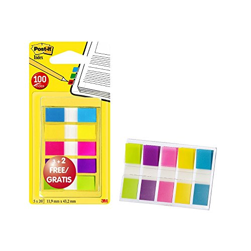 Post-it 683-5CBP Index Mini Promotion 5 x 20 Haftstreifen im Spender, 11,9 x 43,2 mm, türkis, gelb, pink, lila, grün