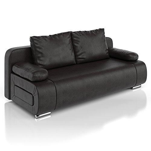 Schwarze Leder-couch (Vicco Schlafsofa Sofa Couch Ulm Federkern Schlafcouch PU Leder schwarz Gästebett)