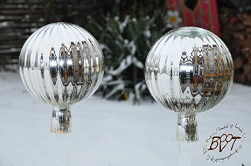 2 Stück ca. je 18 cm XXL Gartenkugel in (mit Glasschaft) Kugelform Silber gartenkugeln, Sonnenfänger-Kugel, Sonnenfänger-Scheibe, Sonnenfängerscheiben, Gartendeko FROSTSICHER, lichtb