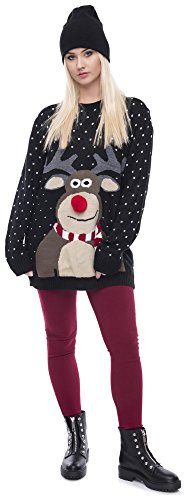 Christmas Sweater Damen Weihnachtspullover Weihnachten Pulli Xmas Einhorn Reh Bambi Rudolph Rentier rote Puschelnase Rudolph Schwarz