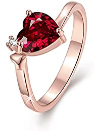 Via Mazzini 18K Rose Gold Plated Carnelian Red Top Quality Swiss Zirconia Crystal Heart Ring For Women And Girls (Ring0222)