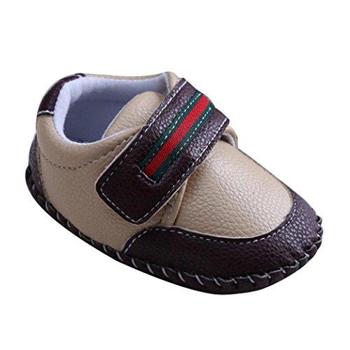 Tefamore Calzado de cuero,Zapatos de bajos bebe de deporte de antideslizante de solo suave de moda invierno de calentar (Tamaño: 13, Caqui)