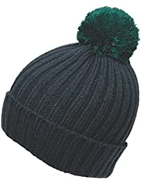 Men Contrast Bobble Winter Thermal Ski Hat, Green