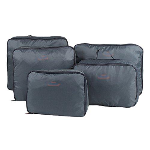5 Pc-gepäck-set (YOUJIA 5pcs/Sets Reise Aufbewahrungstasche für Kleidung Organisator Wäsche Tasche Gepäck Veranstalter Reisetasche in Koffer (Grau, 5 Pcs))