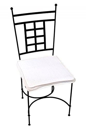 ORIGINAL Orientalischer Stuhl Gartenstuhl aus Metall Schwarz Athen | Marokkanischer Balkonstuhl Inkl. Sitzkissen Stuhlkissen | Eisenstuhl als Bistrostuhl | Mediterrane Deko im Garten oder Balkon