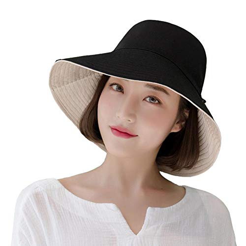 Yuccer Cappello da Sole Donna, Cappello Pescatore Cotone Pieghevole Sun Hat for Women Autunno Inverno Anti-UV Estate (B Nero)