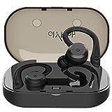HolyHigh Bluetooth Kopfhörer Sport in Ear Ohrhörer Bluetooth 5.0 IP67 Wasserdicht Sportkopfhörer Joggen/Laufen Wireless Kopfhörer mit Ladebox 26 Stunden Mikrofon (Schwarz)
