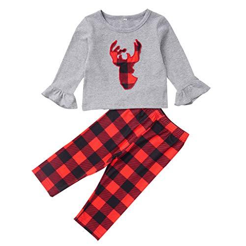 JiaMeng 1-5 Jahre Weihnachts Kostüm Baby Kinder Langarm Weihnachten Karikatur Elch Drucken T-Shirt Tops Lange Karo Hosen Weihnachten Anzug