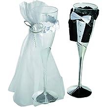 Sposa coppia - plastica-bicchiere da champagne con tulle Set di 2 sposa & (Brindisi Sposa Sposo)