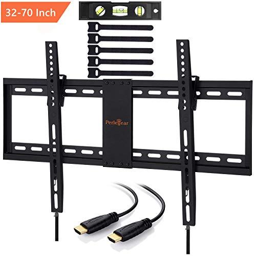 TV Wandhalterung, Perlegear Neigbare TV Halterung für 32-70 Zoll Flach&Curved Fernseher Oder Monitor bis zu 60kg, Max.VESA 600x400mm