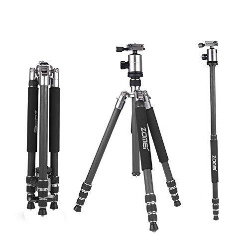 ZOMEI® Z818C - Treppiede in fibra di carbonio 165 cm, portatile, professionale, con sgancio rapido, piastra di testa per telecamere DSLR