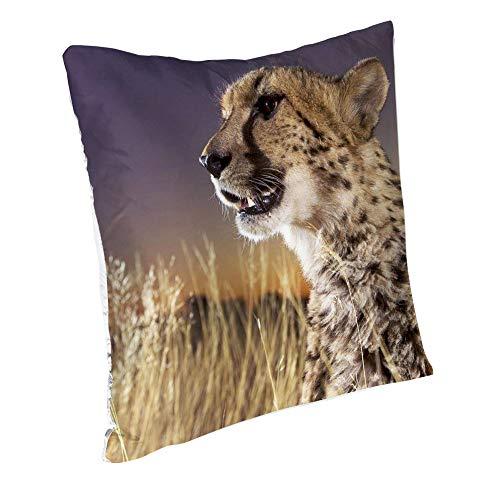 Amdg Kissenbezug Cheetah (58) Seide Kissenbezug 45 x 45 cm mit Reißverschluss dekorative Kissenhülle Dekorative Kissenhülle Hypoallergen 45,7 x 45,7 cm