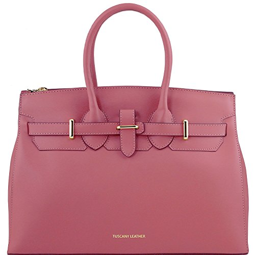Tuscany Leather Elettra - Sac à main pour femme en cuir Ruga avec finitions couleur or - TL141548 (Taupe clair) Vieux Rose