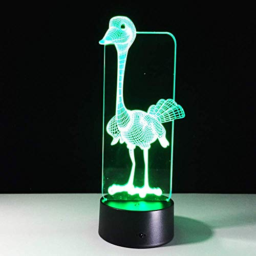 MGU Cute Ostrich 3D Stereoscopic Table Lamp Remote Control Touch,7 Color Gradient Acrylic Night Light Home Decoration Gift -