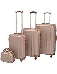 vidaXL Ensemble de valises à roulettes trolley à coque quatre pièces