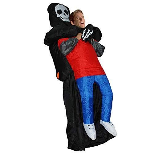 Einfache Kostüm Menschen Schwarz - Delisouls Schwarz Alien Trage Menschen- Kostüm, Aufblasbar Lustig Aufblasen Anzug Cosplay Huckepack Kostüm, Sensenmann Geist Kostüm für Party Halloween - Geist, One Size