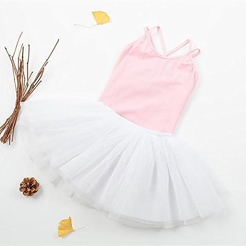 enfant Danse Entraine toi Jupe en fil ballet montrer fille Vêtements , pink + white , 120cm