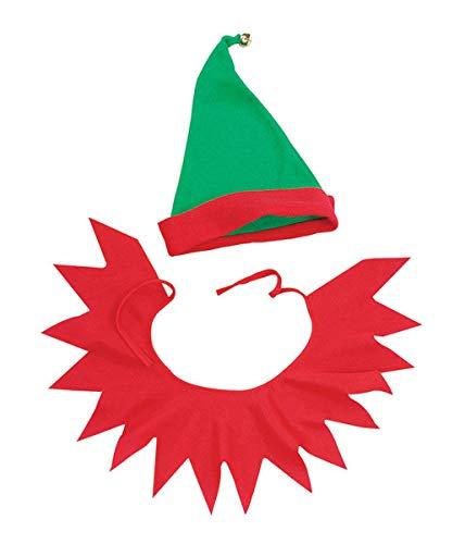 Labreeze Christmas Santa's Little Helper Elf Hat W/ Bell & Collar Kit Xmas Fancy Dress - Little Christmas Elf Kostüm