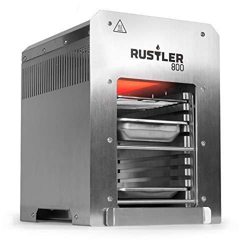 Rustler 800 Hochleistungsgrill | Oberhitze Gasgrill aus Edelstahl für Temperaturen bis zu 800° C mit Piezozünder | 800 Grad Grill | Inkl. Grillrost, Auffangschale und Warmhalteschale