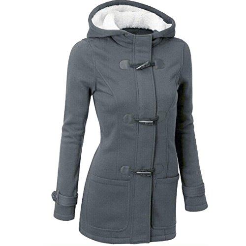 Kanpola Frauen Outwear Windbreaker Warm Slim Lange Mantel Jacke Graben (M, Dunkelgrau)
