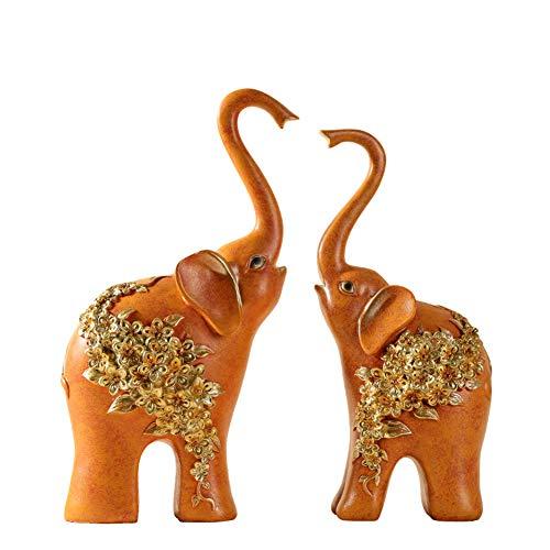 YJF Juego de Resina de 2 Elefantes Wealth Lucky Estatua/Escultura Ornamento para...