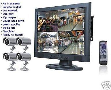j2- New 4IR-Kameras 250GB DVR 48,3cm LCD Monitor CCTV Kit 250 Gb Dvr