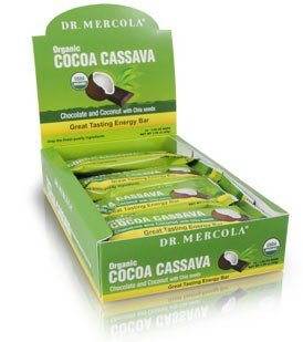 Dr Mercola Cocoa Cassava Bars, Chocolate & Coconut with Chia seeds, 12 (44g) bars per box, 1 box (Chocolate & Coconut with Chia seeds, 12 (44g) bars per box, 1 box ) from Dr Mercola