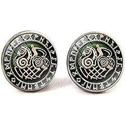 Aretes de amuleto vintage con símbolo de guerrero vikingo, hechos a mano