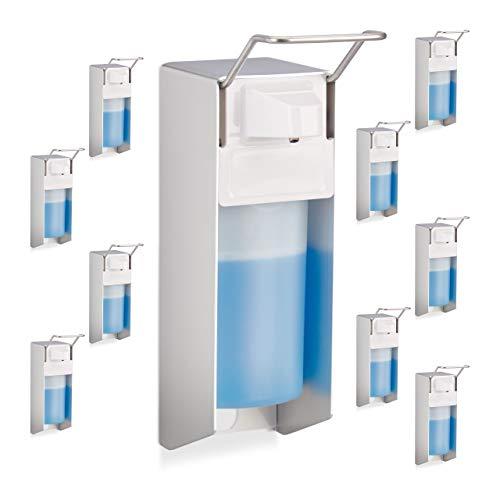 Relaxdays 10x Eurospender 500 ml, Intelligente Handhygiene,Seifenspender, Desinfektionsmittelspender, Bügel-Mechanik, weiß