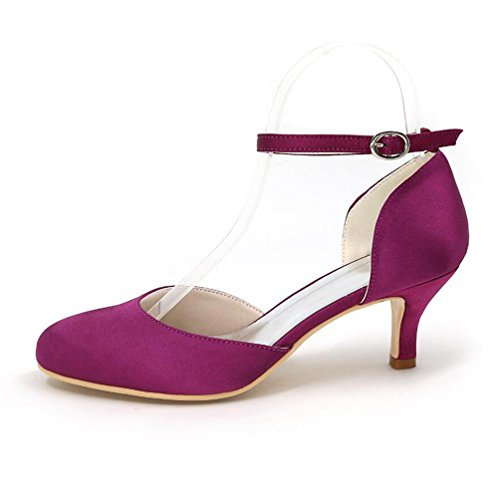 Ei&iLI Le donne di pompa i pattini da sposa in raso chiuso le dita dei piedi fibbia tacchi Court Party Dress Shoes EU35-EU42 Blue